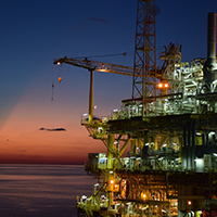 Offshore Rig at night