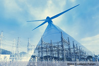 Illustration combining aspects of refineries, wind farms, power plants