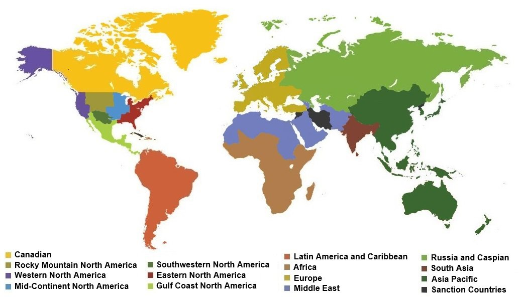 Map Of Europle, Middle East, Africa, Latin America, Canada student paper contest regions