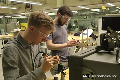 Founding members, engineers Petter Wehlin and Bryan Duerfeldt, working on early prototyping in a student maker space at Yale University (2017).