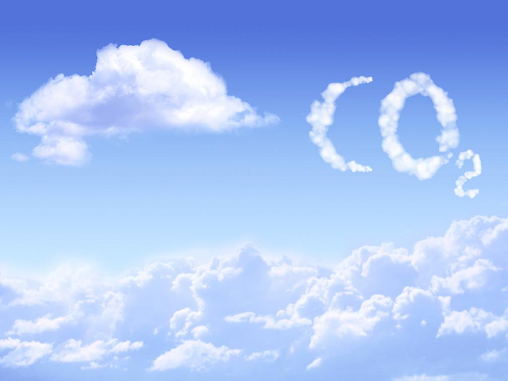 Image of clouds in sky spelling out CO2